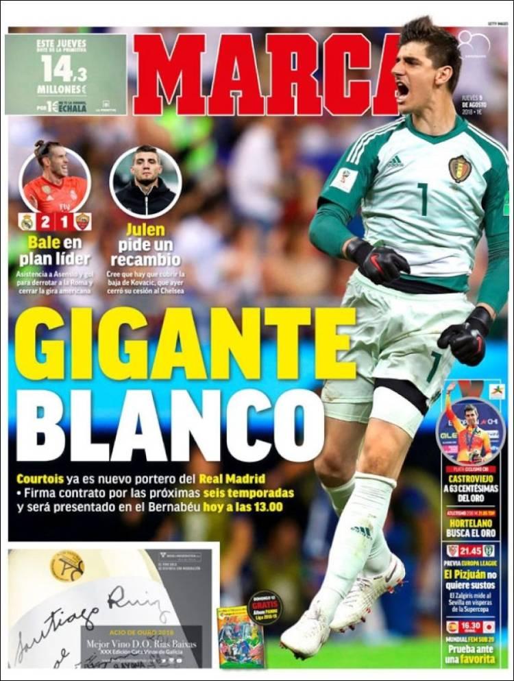 روزنامه های اسپانیا: کورتوا در مادرید(عکس)
