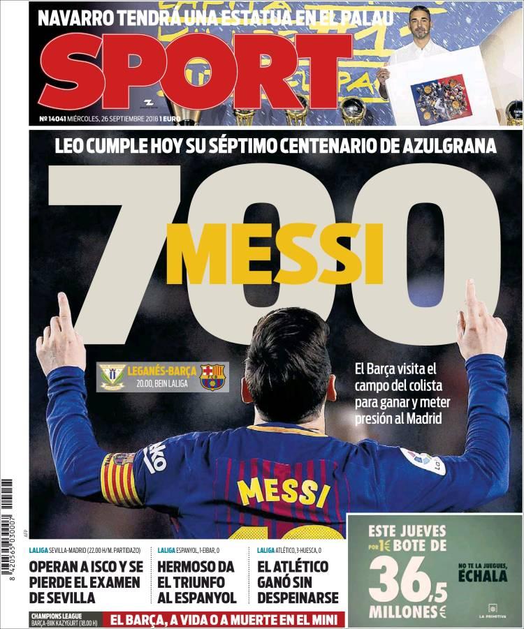 روزنامه های اسپانیا؛ هفتصدمین بازی مسی (عکس)