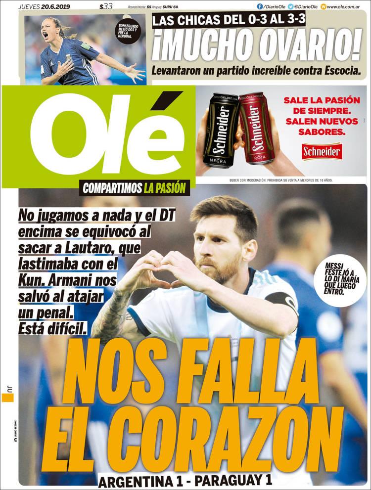 نشریات آرژانتین؛ به زجر کشیدن عادت داریم (عکس)