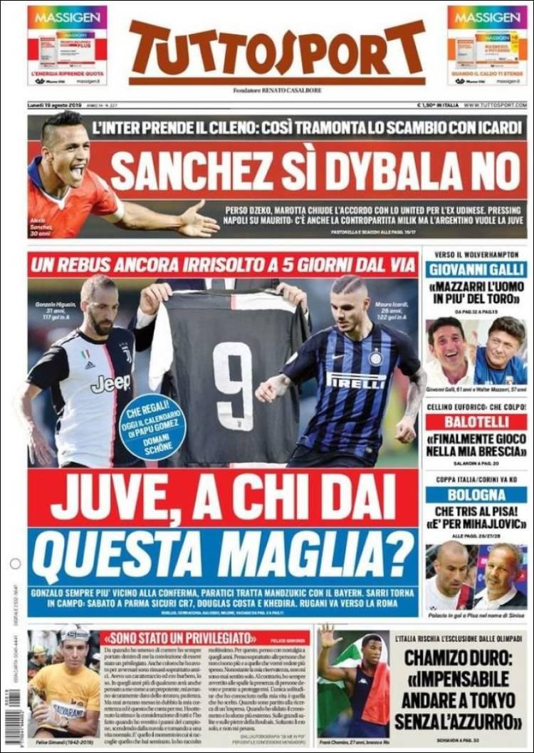 روزنامه های ایتالیا؛ اولتیماتوم به ایکاردی (عکس)