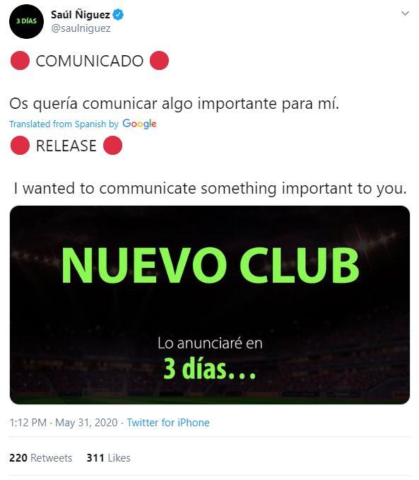 سائول نیگز طبق وعده ای که داده بود، امروز در یک گفت و گوی زنده اینستاگرامی، خبر از باشگاه جدیدش داد.