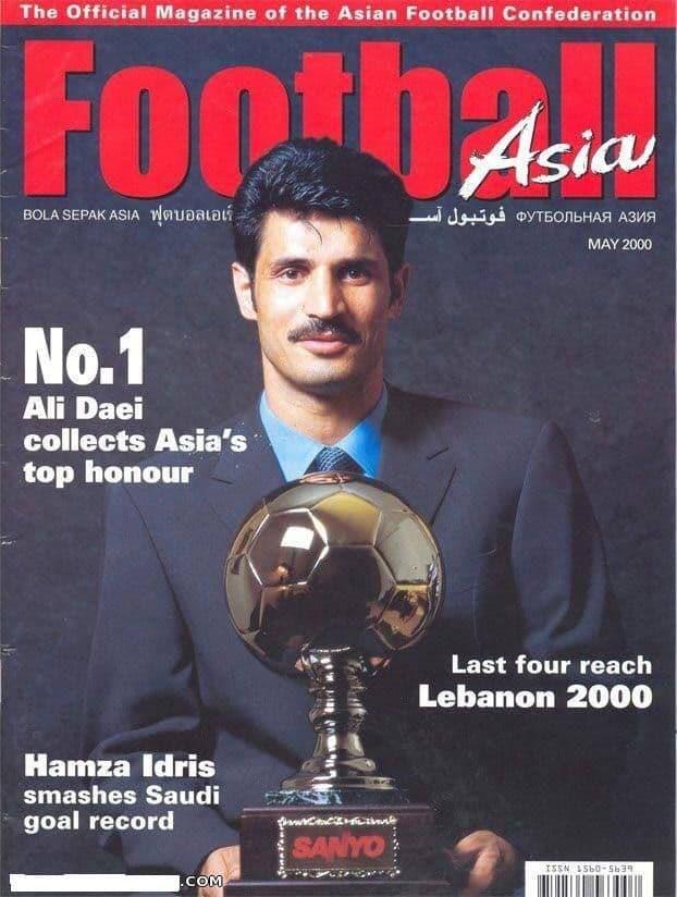 علی دایی با سبیل و کراوات و توپ طلای آسیا (عکس)