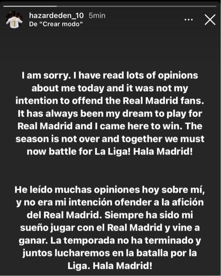 عذرخواهی هازارد: نمیخواستم هواداران را ناراحت کنم