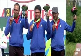 مراسم اهدای مدال برنز ایران در تیراندازی
