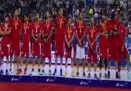 مراسم اهدای مدال نقره تیم ملی بسکتبال