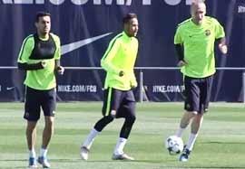 آخرین تمرین بارسلونا قبل بازی با منچسترسیتی
