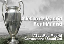 لیست بازیکنان رئال مادرید مقابل اتلتیکو مادرید