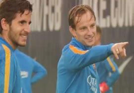 ریکاوری بازیکنان بارسلونا زیر بارش باران