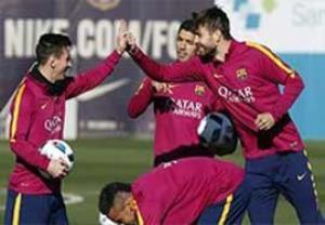 تمرین گلزنی بارسلونا قبل بازی با بیلبائو