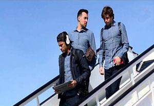 ورود تیم بارسلونا به مادرید برای بازی با رایو وایه کانو
