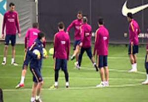 آخرین تمرین بارسلونا قبل بازی با بتیس (95/02/10)