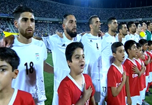 سرود تیم ملی و پرچم زیبای ایران در ورزشگاه آزادی
