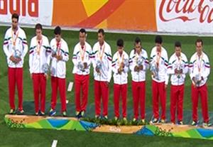 مراسم اهدای مدال نقره ایران در فوتبال 5 نفره پارالمپیک