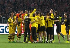 شادی بازیکنان دورتموند بعد از فتح جام حذفی آلمان
