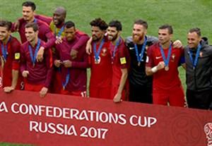 مراسم اهدای مدال برنز تیم ملی پرتغال در جام کنفدراسیون ها