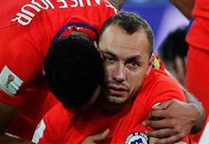 اشک های مارسلو دیاز به خاطر اشتباهش در بازی مقابل آلمان