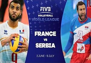 خلاصه والیبال فرانسه 3-2 صربستان