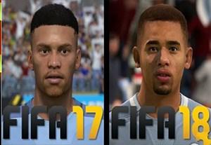 مقایسه چهره بازیکنان منچسترسیتی در FIFA17 و FIFA18