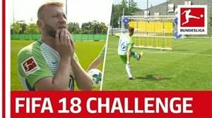 چالش ضربه آزاد بازیکنان وولفسبورگ به سبک FIFA18