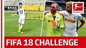 چالش ضربه آزاد بازیکنان گلادباخ به سبک FIFA18FIFAFIFA