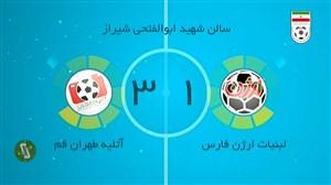 خلاصه بازی ارژن شیراز 1_3 آتلیه طهران قم