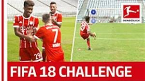 چالش ضربه آزاد بازیکنان بایرن مونیخ به سبک FIFA18