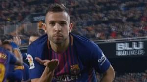 گل اول بارسلونا به والنسیا ( جوردی آلبا)