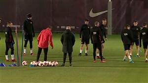آخرین تمرینات بارسلونا قبل از دیدار با مورسیا