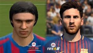 مقایسه چهره لیونل مسی در بازی فیفا از سال 2006 تا 2018