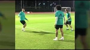 تمرین بازیکنان رئال مادرید با توپ تنیس