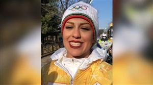 حمل مشعل المپیک زمستانی توسط فروغ عباسی اسکی باز ایران
