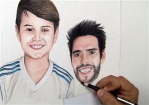 نقاشی زیبا از چهره کاکا و هوادار خوش شانس او