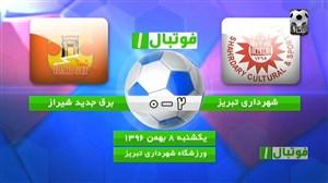 خلاصه بازی شهرداری تبریز 2 - 0 برق جدید شیراز