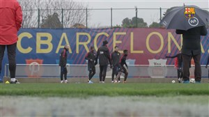 تمرین ریکاوری بارسلونا پس از بازی اسپانیول