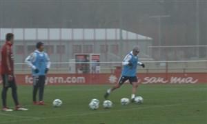 چالش تیر دروازه بازیکنان بایرن مونیخ بعد از تمرین