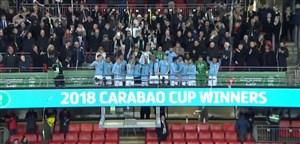 مراسم اهدای جوایز تیم های منچسترسیتی و آرسنال در جام اتحادیه