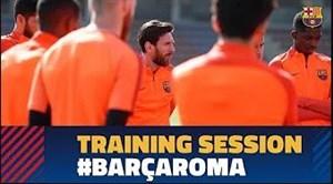 آخرین تمرین بازیکنان بارسا قبل از دیدار با آ اس رم