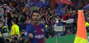 گل چهارم بارسلونا به آ اس رم (سوارز)