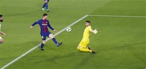 گل سوم بارسلونا به لگانس (هتریک مسی)