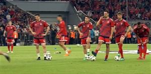 گرم کردن بازیکنان بایرن مونیخ و رئال مادرید