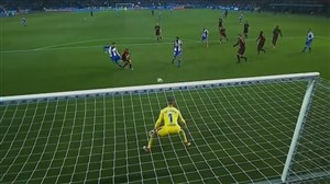 گل اول دیپورتیوو لاکرونیا به بارسلونا (لوکاس)