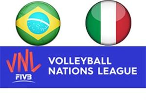 خلاصه والیبال ایتالیا 3 - برزیل 2 (لیگ ملتها)