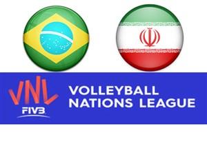 خلاصه والیبال ایران 2 - برزیل 3 (لیگ ملتها)