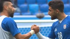 گرم کردن بازیکنان ایران و مراکش پیش از بازی