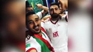 شادی بازیکنان تیم ملی در رختکن پس از برد مراکش
