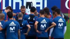 تمرین تیم ملی اسپانیا قبل از بازی با ایران