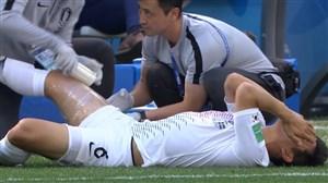 مصدومیت عجیب بازیکن کره جنوبی در دقیقه 27