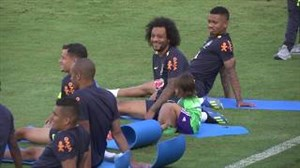 تمرین تیم ملی برزیل با حضور پسر مارسلو