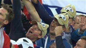 صعود روسیه و واکنش هواداران در پایان بازی (روسیه-مصر)