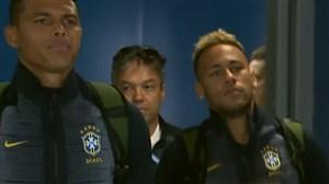 ورود تیم برزیل به استادیوم برای تقابل با کاستاریکا